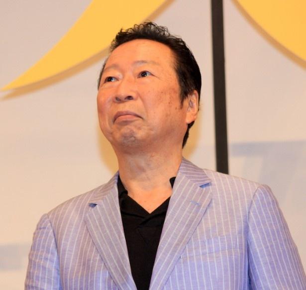 『オケ老人!』完成披露試写会に登壇した石倉三郎