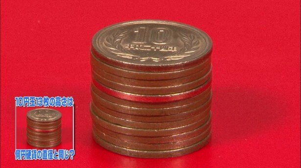 10円硬貨13枚分の高さと同じ直径の硬貨はどれ? 難問雑学をトゥルさまメンバーが検証!