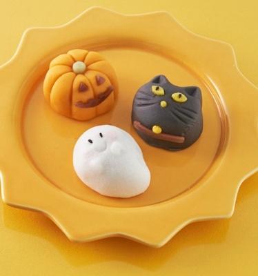 ハロウィンをイメージした創作和菓子3種類「創作和菓子 ハロウィン(かぼちゃ、黒猫、おばけ)」