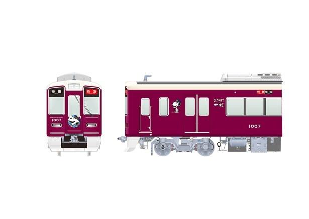 装飾列車のイメージ。マルーンの車体をスヌーピーが駆けまわる!