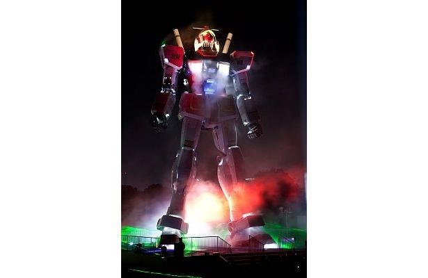 GREEN TOKYO ガンダムプロジェクトのオープニングセレモニー時の写真。今回のイベント当日のライトアップ内容はまだ未定だ