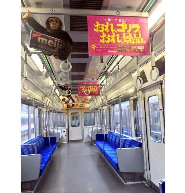 【写真を見る】「おれ、ゴリラ。」のぬいぐるみがそのままぶら下がった中吊り広告も展開!