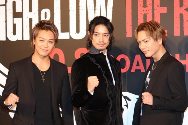 『HiGH&LOW THE RED RAIN』のイベントに登場したTAKAHIRO、斎藤工、登坂広臣
