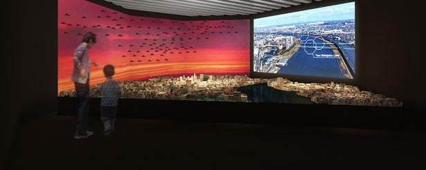 都市模型展示スペースのイメージ。怪獣の目線で街を見下ろしてみよう!