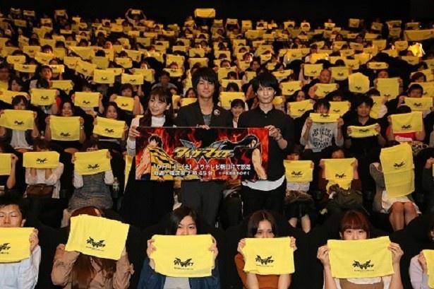 10月1日(土)からスタートする「タイガーマスクW」に出演する三森すずこ、八代拓、梅原裕一郎(写真左から)が第1話先行試写イベントに登壇