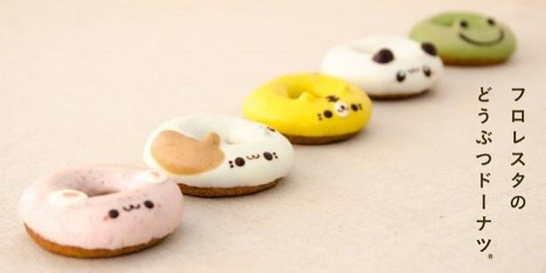 こちらはレギュラーの「どうぶつドーナツ」。三毛猫にパンダにカエルなど、種類豊富で人気