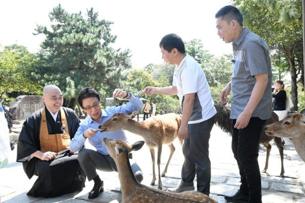 【写真を見る】奈良公園では、古舘伊知郎も鹿の餌やりにチャレンジ!