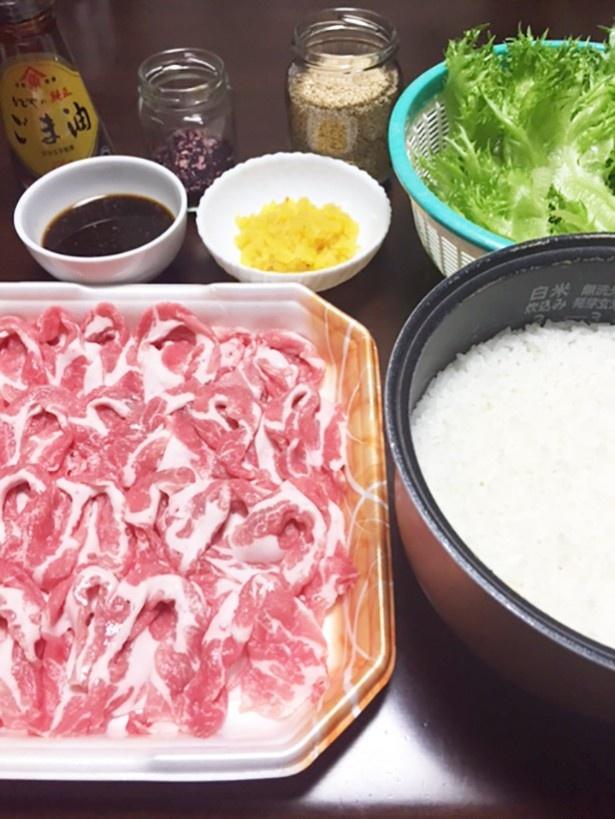 【写真を見る】(写真A)こちらが全材料。お肉は、本日のお買い得肉にこっそり変更。