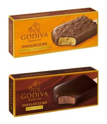 「ゴディバ チョコレートアイスバー ミルクチョコレートキャラメルアップル」と「ゴディバ チョコレートアイスバー ダブルチョコレート」(各350円)