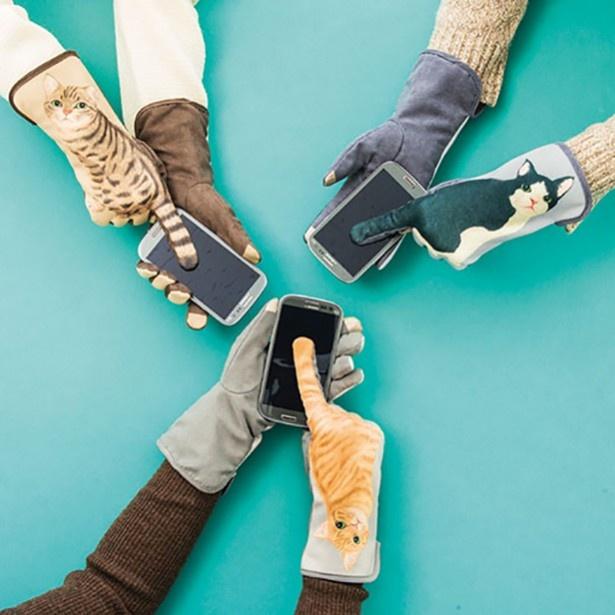 シリーズ第一弾「YOU+MORE! スマートフォン対応 猫のしっぽふりふり手袋」。1組3980円(税抜)