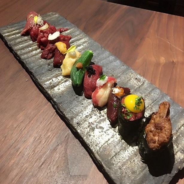 キャビアやフォアグラ、トリュフなど高級食材を使った肉寿司
