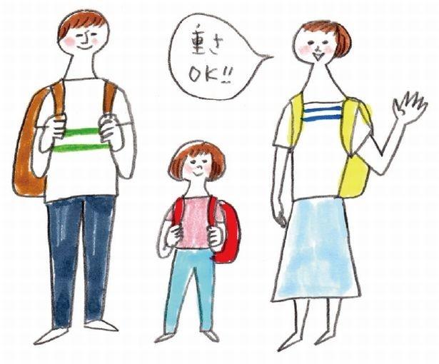 避難バッグは家族で分担して持つ。実際に背負って歩いてみることも大切