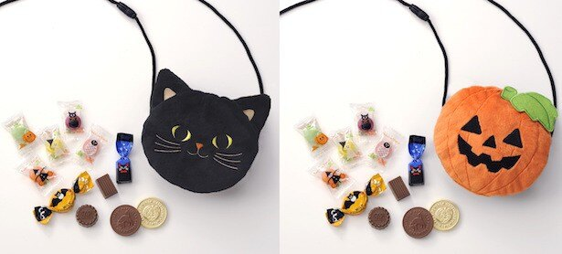 かわいいポシェットの中にチョコレート、キャンディが入り。「ミートントリート ポシェット」左[クローニャ] 右[ジャック オ ランターン] 各810円(税込) 各11個入
