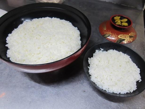 【写真】右は普通サイズの丼。比べると大きさの違いが歴然!