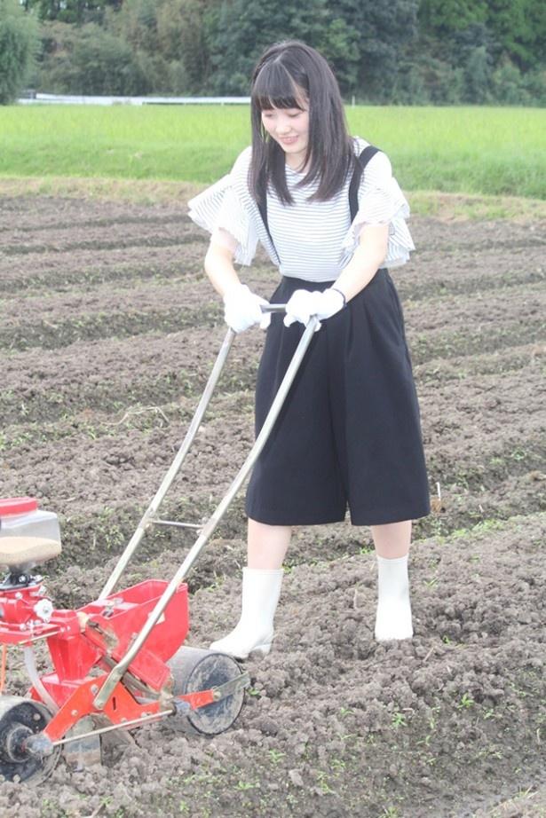 【写真を見る】ちぃちゃん、種植え機を使ってみる!