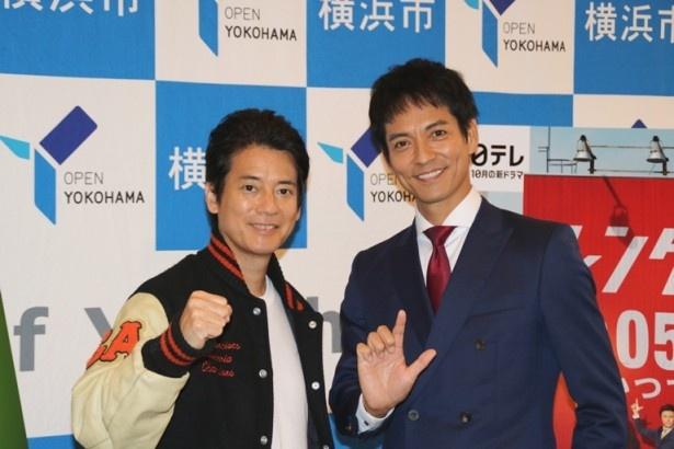 【写真を見る】それぞれ新ドラマで主演を務める唐沢と沢村が横浜の魅力を語った!