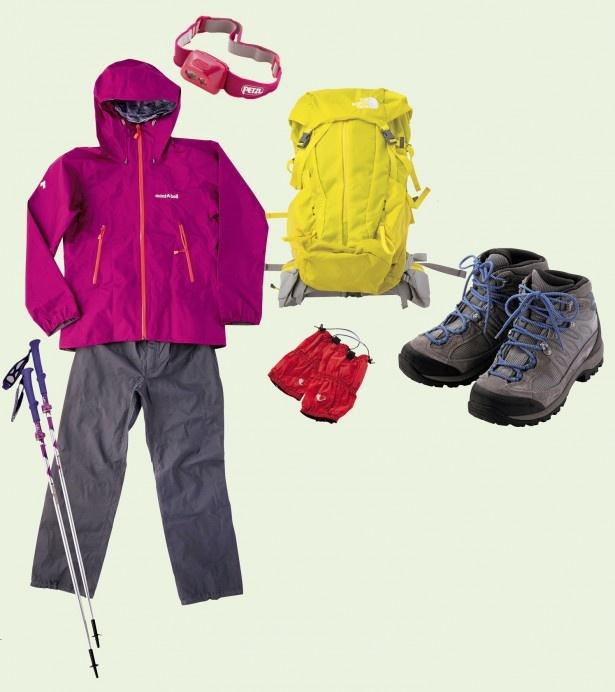 清潔にクリーニングし、さらに独自の処方で撥水性を高めたグッズ。写真は「はじめての登山セット 選べるコーディネート」(1泊2日11,480円)の一部。メンズ、キッズ用もあり