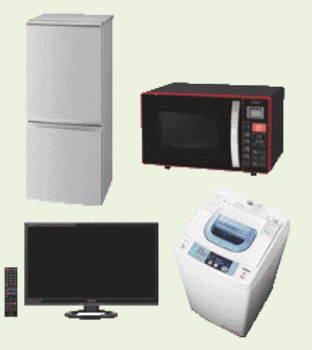 基本プランは、冷蔵庫と洗濯機のセットで月額2,600円~。電子レンジ、テレビを加えた4点セットでも月額4,700円