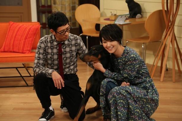 【写真を見る】柴田英嗣(左)は剛力彩芽(右)のためにさまざまな動物を用意