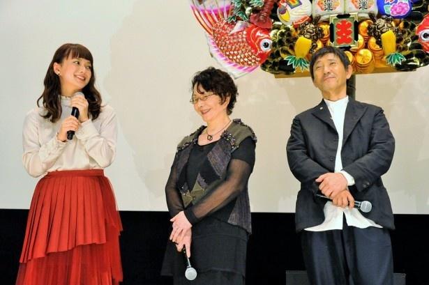 11月5日(土)公開の「続・深夜食堂」より小林薫、渡辺美佐子、多部未華子(写真右から)らが完成披露に登壇した