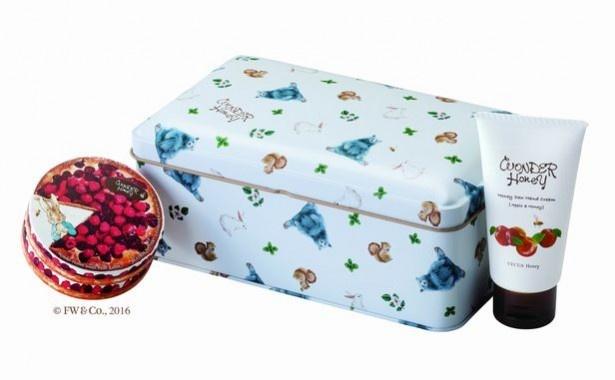 クリームバームとハントクリームの缶入りセット。「ワンダーハニー 冬の森の潤いギフトセット/2300円※数量限定」