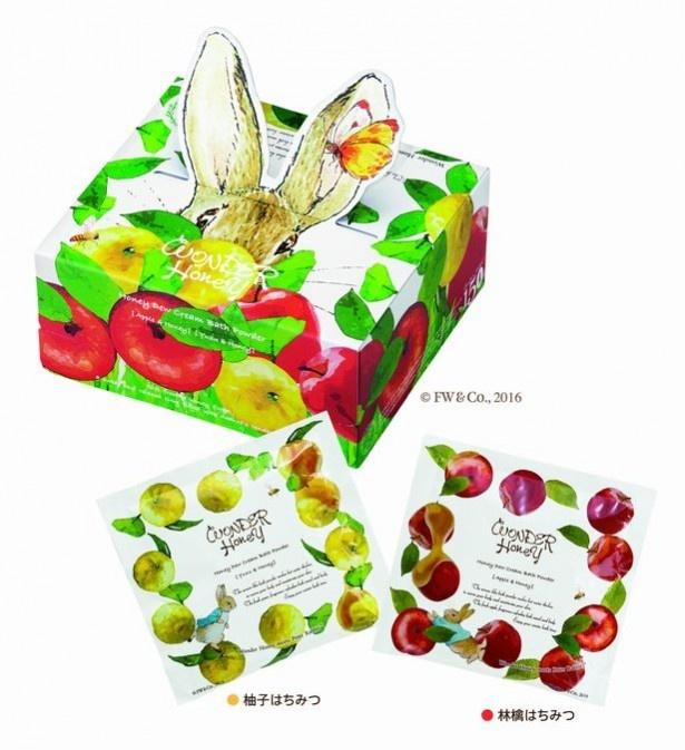 「ワンダーハニー とろとろふんわりクリームバス ピーターラビット™アニバーサリーボックス柚子はちみつ×3包入・林檎はちみつ25g×3包入1200円※数量限定」