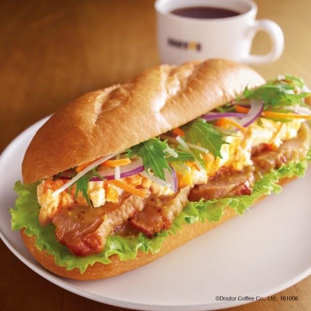 「ミラノサンドC ジンジャー照り焼きチキン ~ハニーマスタード~」(390円)はジンジャー入りのテリヤキソースで味付けした鶏モモ肉とタマゴサラダを合わせた1品