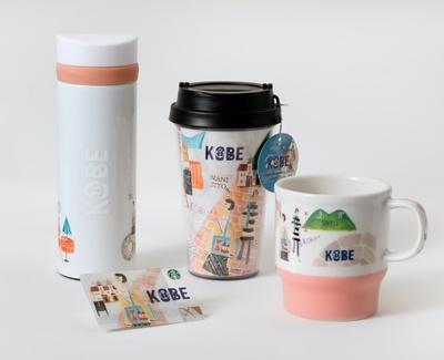 神戸ポートタワーや異国情緒溢れる石畳、山麓電飾などが描かれた「KOBE」シリーズ