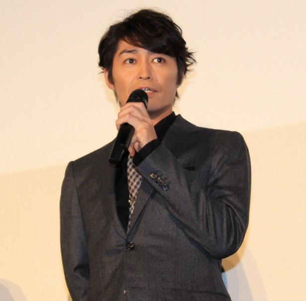 『聖の青春』完成披露舞台挨拶に登壇した安田顕