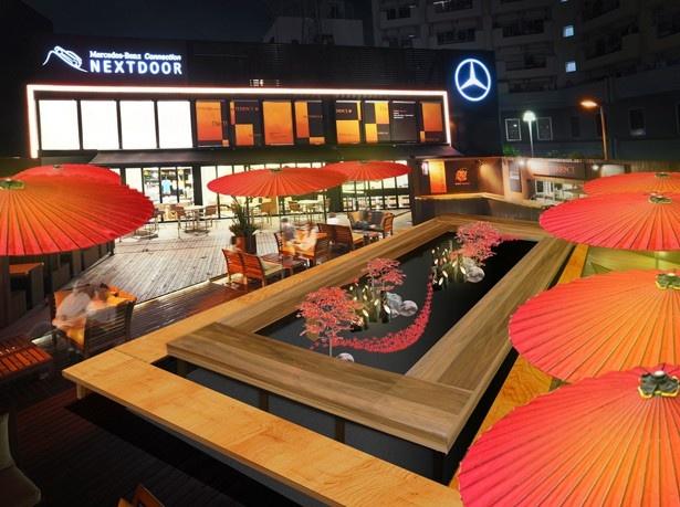 竹灯りや和傘、石庭などで日本らしい秋の空間を演出