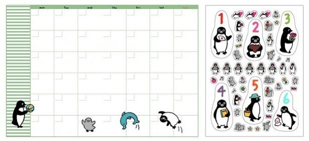 「Suicaのペンギン フリースケジュールノートYellow」の、見開きカレンダーページ&オリジナルシール。