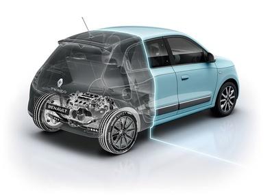 トゥインゴの模式図。エンジンをはじめとするドライブトレインをリアに配置