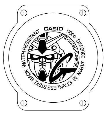 ガンダム×G-SHOCKの記念マークを裏蓋に刻印