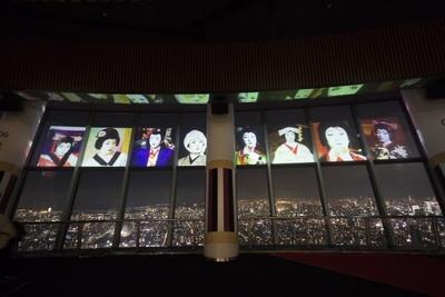 中村勘三郎、中村七之助も登場。横並びになった3人の姿は壮観。「SKYTREE ROUND THEATER」ならではの演出だ