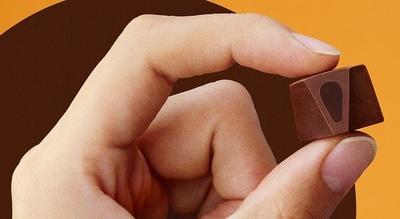 【写真を見る】外側の優しい甘さのチョコレートで、上品な苦味のあるチョコレートを中に閉じ込めた2層構造