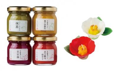 京嵯峨 寿庵の京の野菜ジャム、和風ジャム(写真左、各356円)、手作りキャンドル 椿(同右、各1,080円)