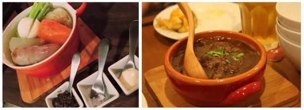 「季節のごろごろ野菜のポトフ」(1180円、写真左)と「牛スジとスネ肉のワインポトフ」(900円、写真右)が楽しめるコース料理が提供開始する