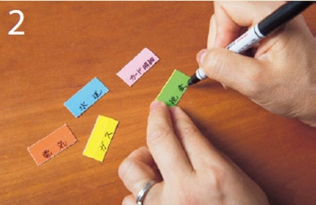 出し入れする頻度の高いものが手 前にくるように色別にして、電気、 ガス、カード明細などをラベリン グする