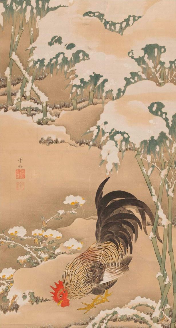 細見美術館蔵の「雪中雄鶏図(せっちゅうゆうけいず)」
