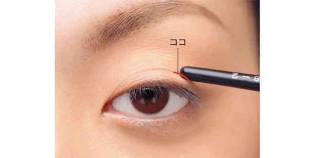 まっすぐ前を見ながら、二重の線の上をペンシルで押さえます。一重や奥二重の人はまつ毛をビューラーで上げて、そのまつ毛の少し上あたりが目安