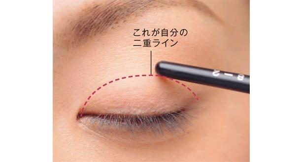 ペンシルで押さえたまま、目を閉じ、目の形に沿ってラインを想定します。これがあなたの二重ライン。