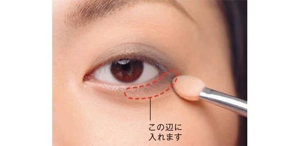 目の下には目尻から黒目の外側までシャドウを入れます。「チップにはシャドウをつけ足さないで、チップに残った分でぼかすと自然に仕上がります」