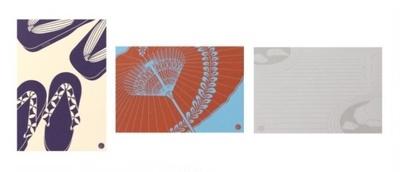 「ポストカード」(各200円)の京都中央郵便局限定柄「下駄」「和傘」「枯山水」