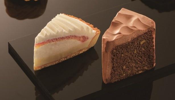 バニラの風味と木苺のソースがマッチした「バニラクリームと木苺のケーキ」(単品390円)と濃厚なチョコクリームの「チョコレートシフォンケーキ」(単品400円)