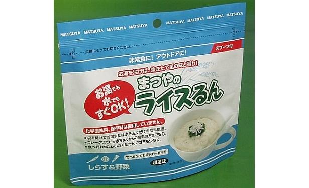 「ライスるん しらす&野菜 和風味」(¥350)。アレルゲンフリーで、賞味期限は5年
