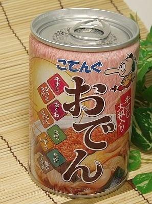 「小天狗おでんの缶詰 牛すじ・大根」(¥315)は賞味期限3年。
