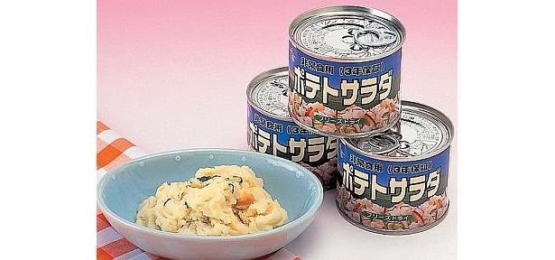 離乳食にもオススメの「ポテトサラダ缶」(¥380)。軽くて携帯に便利なフリーズドライ食品で湯か水を入れて混ぜるだけ。賞味期限3年