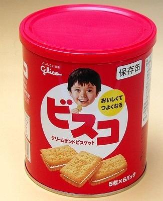 「クリームサンドビスケット ビスコ 保存缶」(¥420)は賞味期限5年