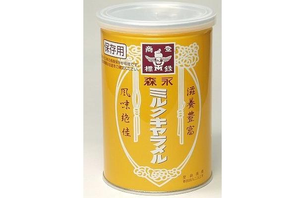 「森永 ミルクキャラメル保存缶」(¥420)は賞味期限5年