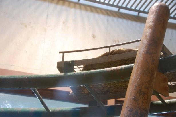 旭山動物園・ちんぱんじー館に置かれた麻袋ベッド(2016年撮影)